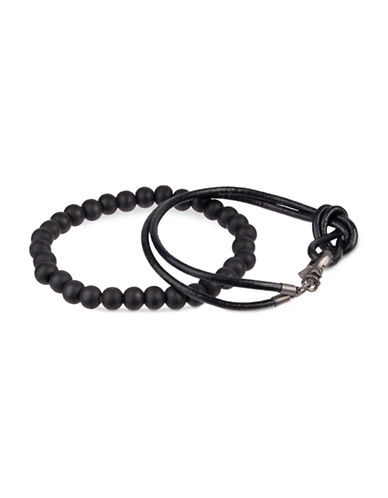 Kenneth Cole Reaction Two-Piece Leather and Bead Bracelets-BLACK-One Size