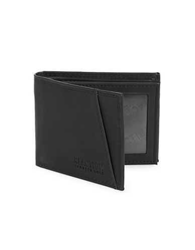 Kenneth Cole Reaction Matte Extra Capacity Slim Fold Wallet-BLACK-One Size