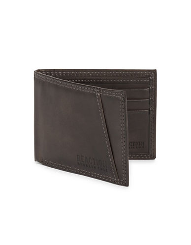 Kenneth Cole Reaction Top-Stitched Bill Fold Wallet-GREY-One Size