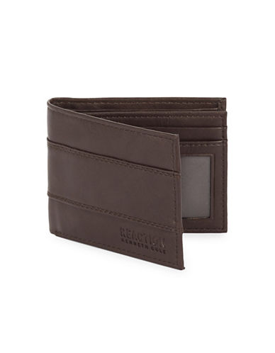 Kenneth Cole Reaction Extra Capacity Slim Fold Wallet-DARK BROWN-One Size