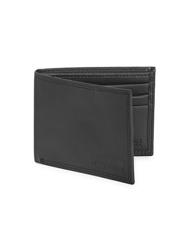 Kenneth Cole Reaction Slim Fold Wallet with Keychain-BLACK-One Size