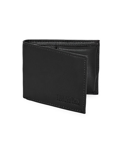 Kenneth Cole Reaction Bifold Wallet with Slimline Power Bank-BLACK-One Size