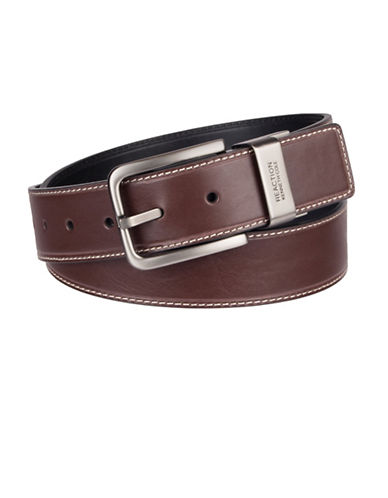 Kenneth Cole Reaction Brushed Matte Reversible Belt-BROWN-40