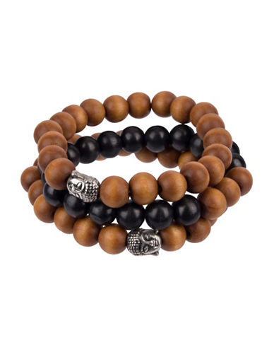 Image of 1670 1670 Three-Piece Beaded Bracelet Set-BROWN-One Size