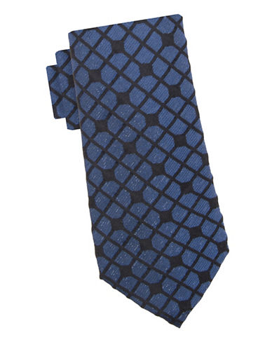 Vince Camuto Glitz Glam Geometric Silk Tie-NAVY-One Size