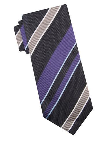 Vince Camuto Castellaccio Stripe Silk Tie-PURPLE-One Size