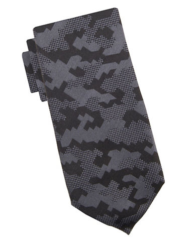 Vince Camuto Jacopo Geometric Silk Tie-BLACK-One Size