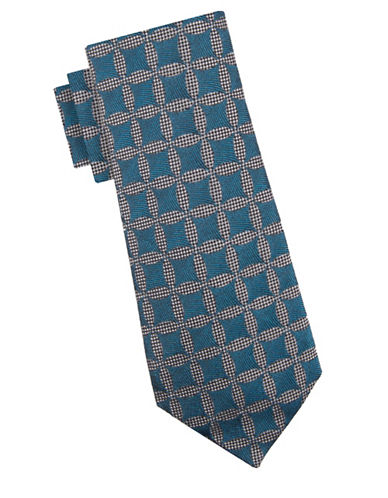 Vince Camuto Jacopo Medallion Silk Tie-TURQUOISE-One Size