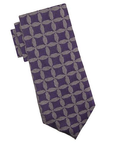 Vince Camuto Jacopo Medallion Silk Tie-PURPLE-One Size
