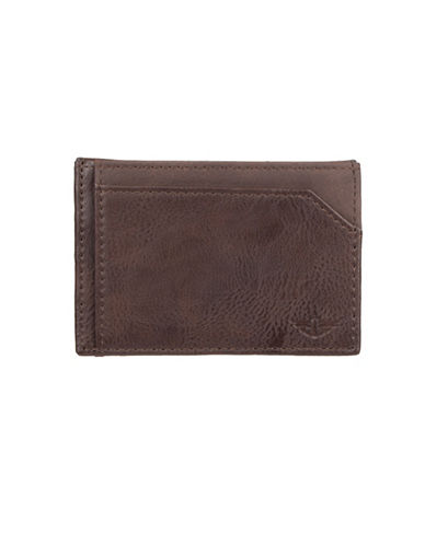 Dockers Magnetic Front Card Case Pocket Leather Wallet-BROWN-One Size