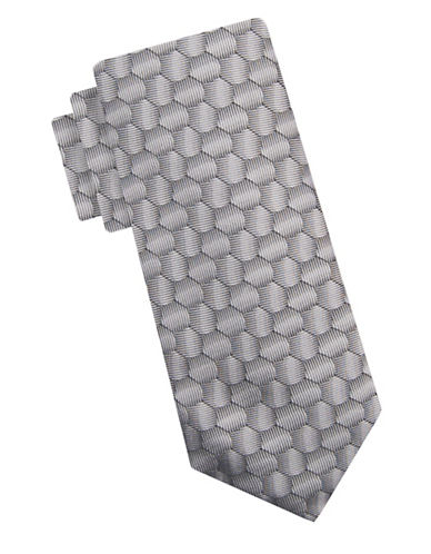 Vince Camuto Silk Hexagon Tie-SILVER-One Size