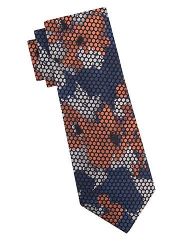 Vince Camuto Poppy Print Tie-NAVY-One Size