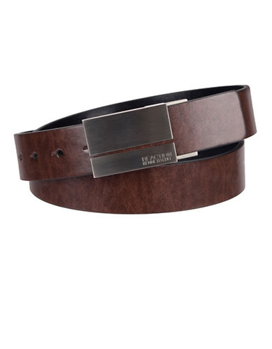Kenneth Cole Reaction Aniline Dress Reversible Belt-BROWN-32