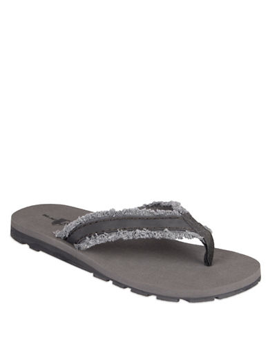 Black Brown 1826 Frayed Canvas Thong Sandals-GREY-XL