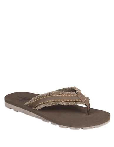 Black Brown 1826 Frayed Canvas Thong Sandals-TAUPE-XL