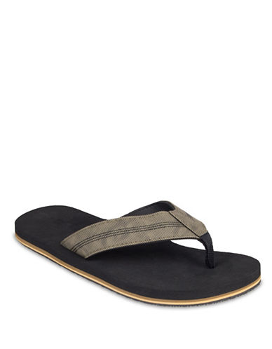 Black Brown 1826 Colourblock Twill Flipflops-GREEN-XL