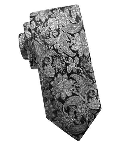 Black Brown 1826 Textured Silk Tie-BLACK-One Size