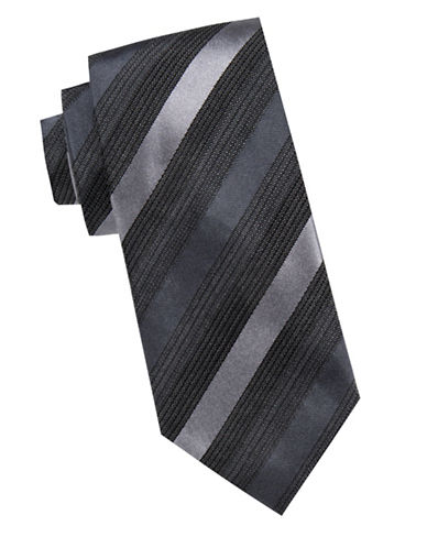 Black Brown 1826 Tonal Striped Silk Tie-BLACK-One Size