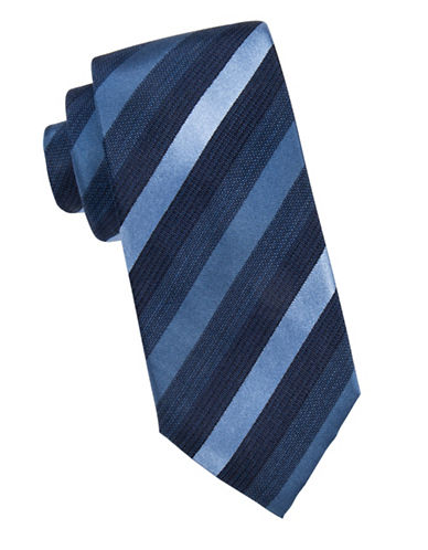 Black Brown 1826 Tonal Striped Silk Tie-NAVY-One Size