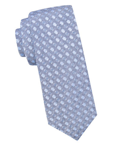 Ben Sherman Diagonal Ribbed Silk and Cotton Tie-NAVY-One Size
