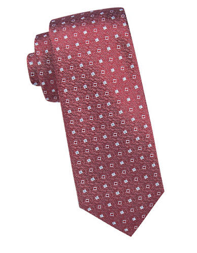 Vince Camuto Square-Dot Pattern Silk Tie-WINE-One Size