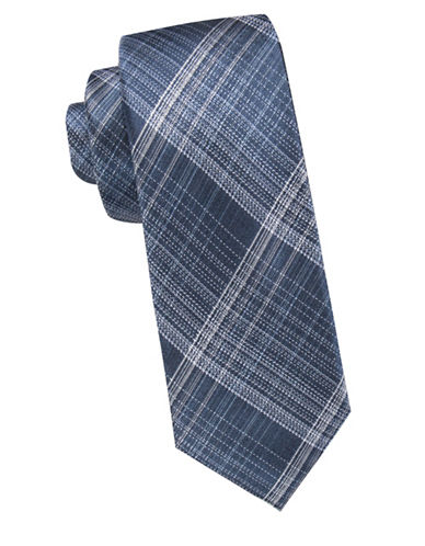 Vince Camuto Plaid Silk Tie-NAVY-One Size