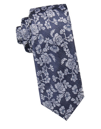 Vince Camuto Floral Silk Tie-NAVY-One Size