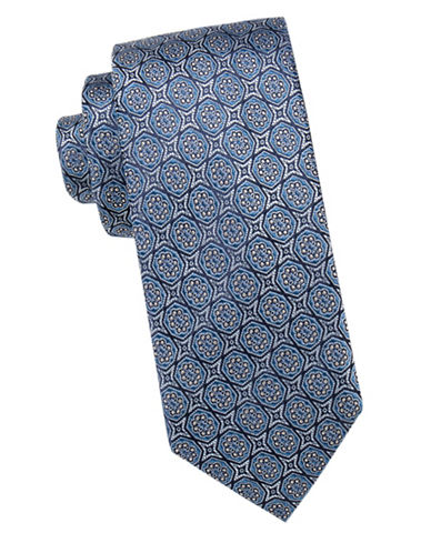 Black Brown 1826 Floral Silk Tie-BLUE-One Size