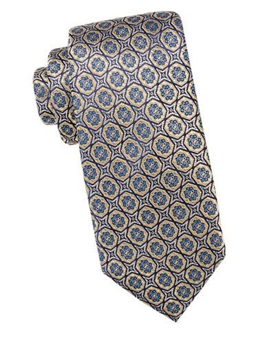Black Brown 1826 Floral Silk Tie-GOLD-One Size