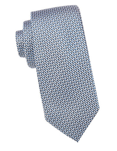 Black Brown 1826 Textured Silk Tie-BLUE-One Size