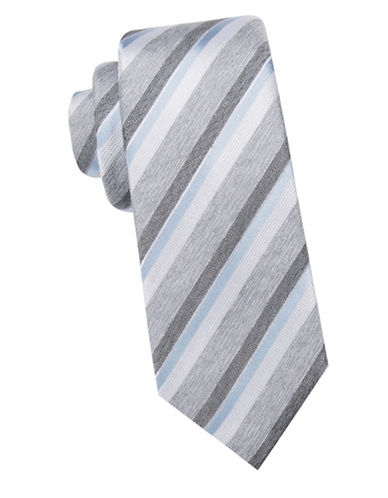 Black Brown 1826 Striped Silk Tie-CHARCOAL-One Size