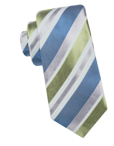 Black Brown 1826 Striped Silk Tie-GREEN-One Size