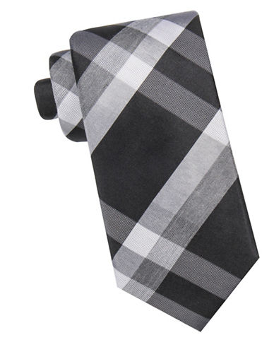 Black Brown 1826 Plaid Silk Tie-CHARCOAL-One Size
