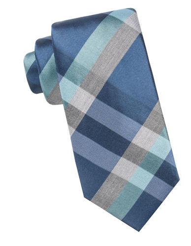 Black Brown 1826 Plaid Silk Tie-TEAL-One Size