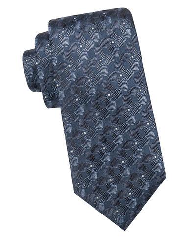 Black Brown 1826 Twirl Motif Silk Tie-NAVY-One Size