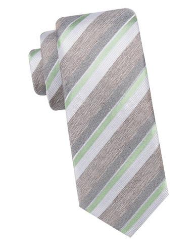 Black Brown 1826 Striped Slim Silk Tie-GREEN-One Size