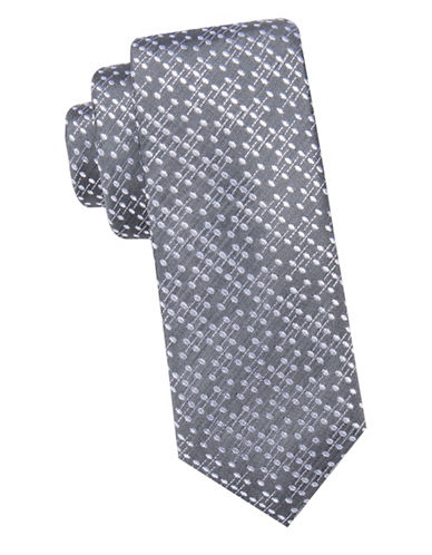 Black Brown 1826 Bar Motif Slim Silk Tie-CHARCOAL-One Size
