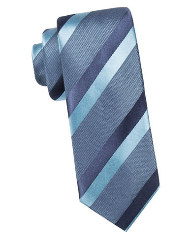 Black Brown 1826 Striped Slim Silk Tie-AQUA-One Size