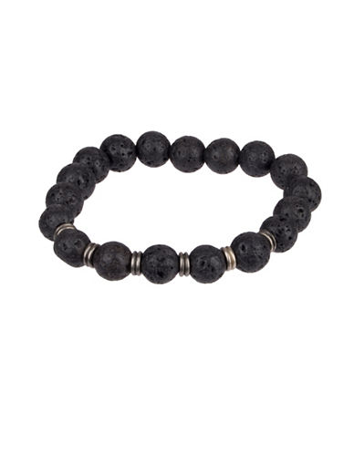 Kenneth Cole Reaction Lava Bead Leather Bracelet-BLACK-One Size