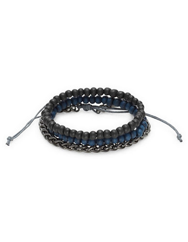 Kenneth Cole Reaction Gunmetal Faux Pearl Bracelet-BLACK/BLUE-One Size