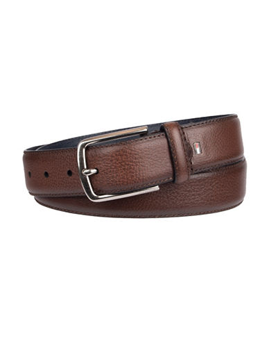 Tommy Hilfiger Stitch-Edge Leather Belt-BROWN-34
