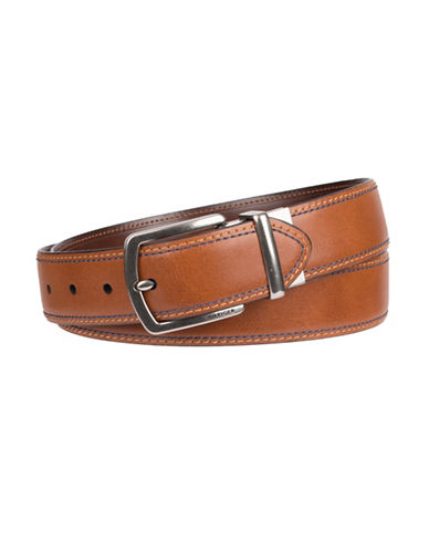 Tommy Hilfiger Double Stitched Leather Belt-BEIGE-34