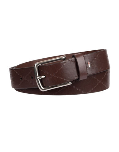 Tommy Hilfiger Embossed Stitch Leather Belt-BROWN-36