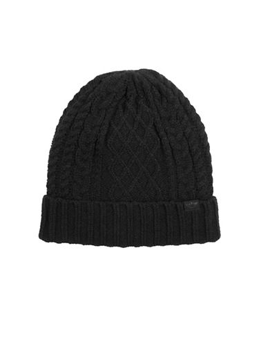 Dockers Heathered Cable Beanie-BLACK-One Size