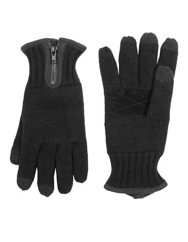 LeviS Heathered Knit Gloves-BLACK-Medium