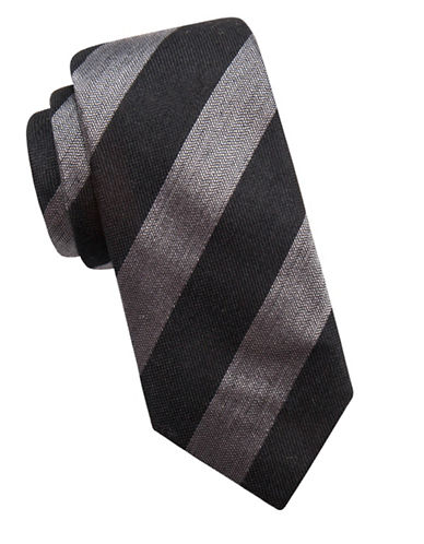 Vince Camuto Striped Silk-Blend Tie-BLACK-One Size