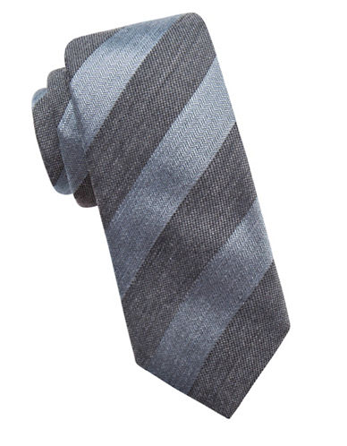 Vince Camuto Striped Silk-Blend Tie-TEAL-One Size
