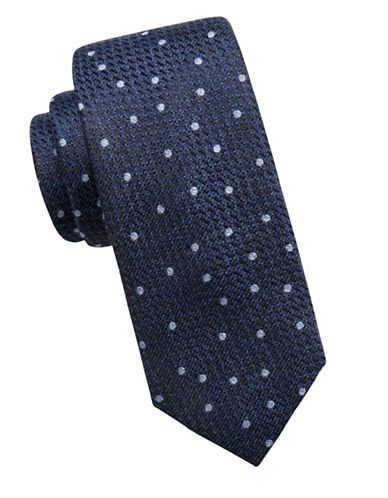 Vince Camuto Dotted Silk-Blend Tie-NAVY-One Size