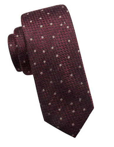 Vince Camuto Dotted Silk-Blend Tie-RED-One Size