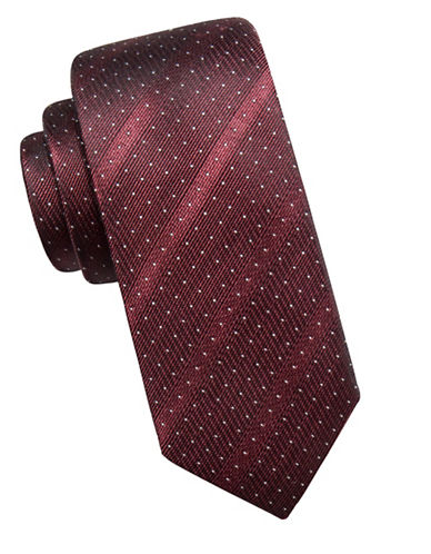 Vince Camuto Striped Pin Dot Silk Tie-WINE-One Size